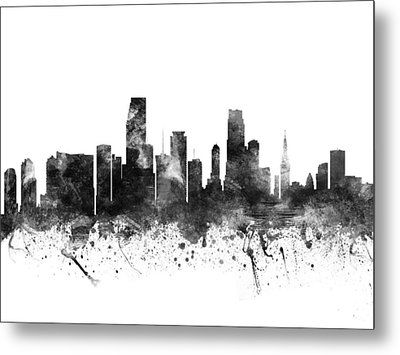 Miami Florida Cityscape 02bw Metal Print by Aged Pixel