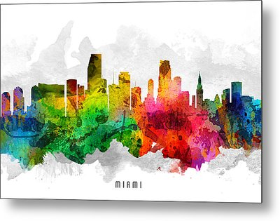 Miami Florida Cityscape 12 Metal Print by Aged Pixel