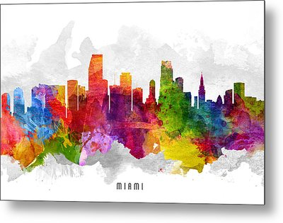 Miami Florida Cityscape 13 Metal Print by Aged Pixel