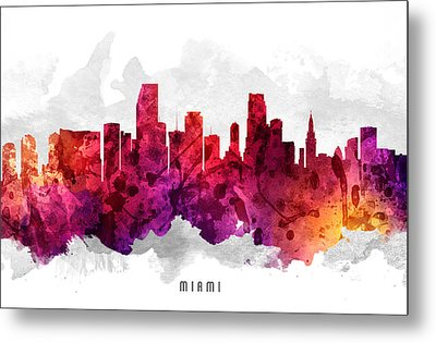 Miami Florida Cityscape 14 Metal Print by Aged Pixel
