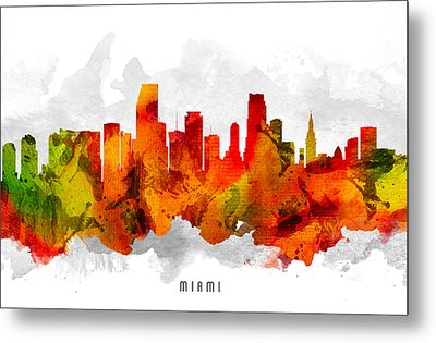 Miami Florida Cityscape 15 Metal Print by Aged Pixel