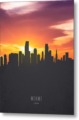 Miami Florida Sunset Skyline 01 Metal Print by Aged Pixel