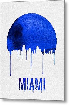 Miami Skyline Blue Metal Print by Naxart Studio