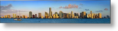 Miami Skyline In Morning Daytime Panorama Metal Print by Jon Holiday