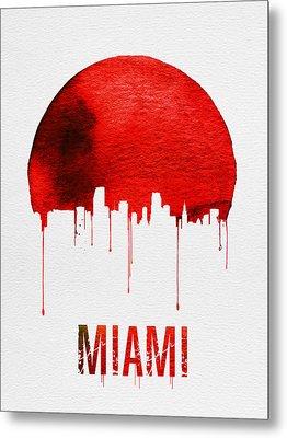 Miami Skyline Red Metal Print by Naxart Studio