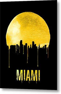 Miami Skyline Yellow Metal Print by Naxart Studio