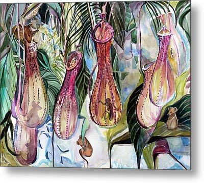 Mice In The Pitchers Metal Print by Mindy Newman