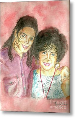 Michael Jackson And Elizabeth Taylor Metal Print by Nicole Wang