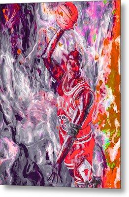 Michael Jordan Chicago Bulls Digital Painting Metal Print by David Haskett