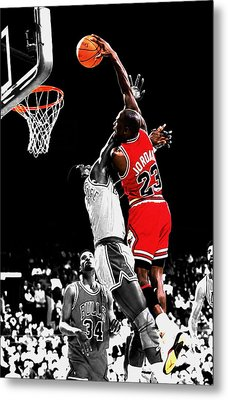 Michael Jordan Power Slam Metal Print by Brian Reaves