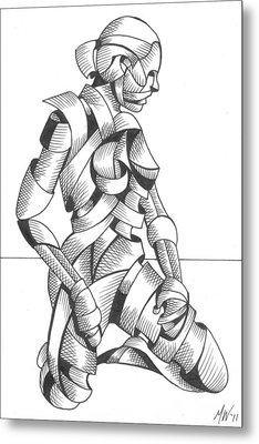 Michaela - Abstract Nude Figurative Pen And Ink Drawing Metal Print by Mark Webster