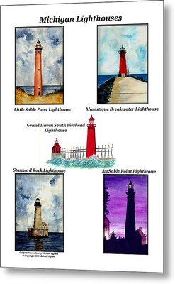 Michigan Lighthouses Collage Metal Print by Michael Vigliotti