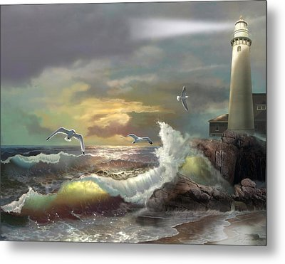 Michigan Seul Choix Point Lighthouse With An Angry Sea Metal Print by Regina Femrite