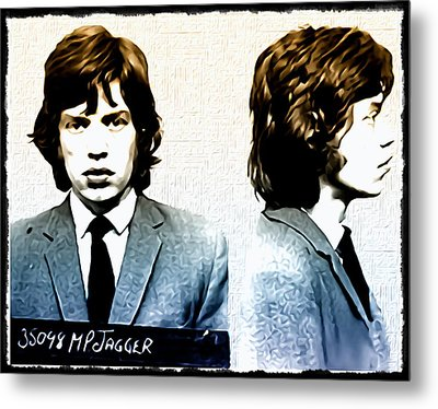 Mick Jagger Mugshot Metal Print by Bill Cannon