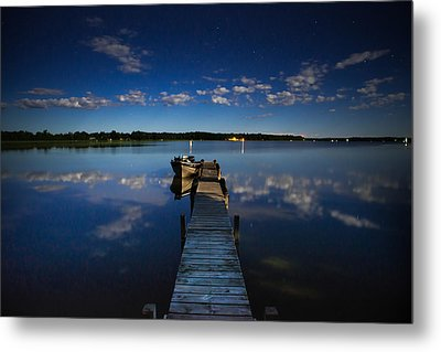 Midnight At Shady Shore On Moose Lake Minnesota Metal Print by Alex Blondeau