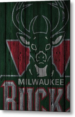 Milwaukee Bucks Wood Fence Metal Print by Joe Hamilton