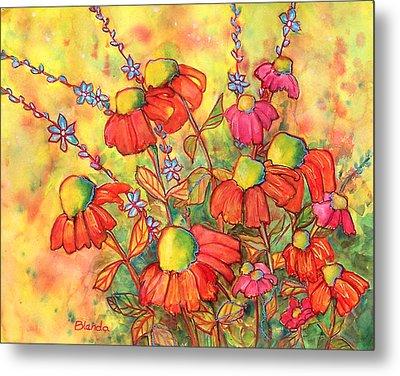 Mimosa Sky Flowers Metal Print by Blenda Studio