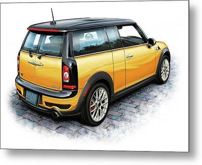 Mini Cooper Clubman Yellow Metal Print by David Kyte