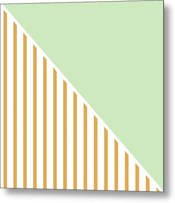 Mint And Gold Geometric Metal Print by Linda Woods