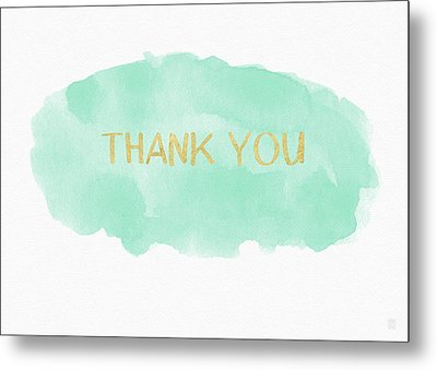 Mint And Gold Watercolor Thank You- Art By Linda Woods Metal Print by Linda Woods
