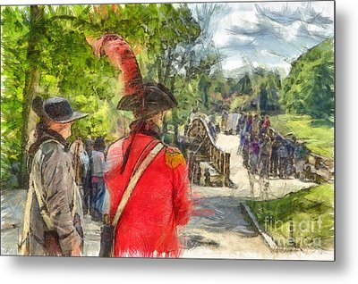 Minuteman And Redcoat Concord Ma Pencil Metal Print by Edward Fielding
