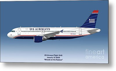 Miracle On The Hudson - Us Airways A320 - Blue Version Metal Print by Steve H Clark Photography