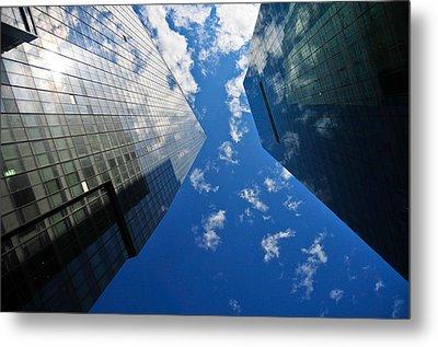 Mirrored Buildings Metal Print by Mandy Wiltse