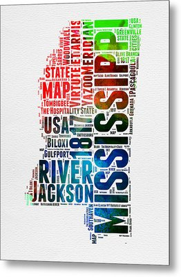 Mississippi Watercolor Word Cloud  Metal Print by Naxart Studio