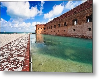Moat And Walls Of Fort Jefferson Metal Print by George Oze