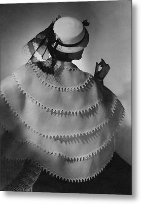 Model Wearing A White Sailor Hat Metal Print by Conde Nast