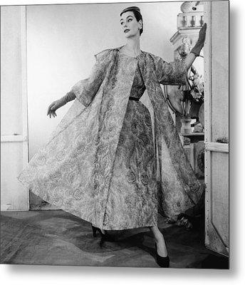 Model Wearing Paisley Silk Organdy Metal Print by Conde Nast