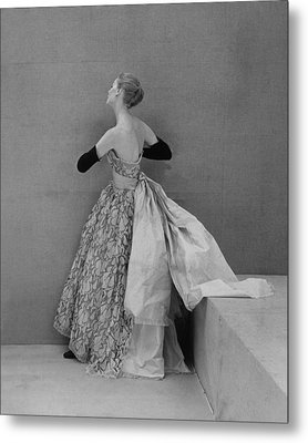 Model Wearing Strapless Lace And Satin Metal Print by Conde Nast