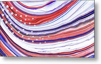 Modern American Flag - Red White And Blue - Sharon Cummings Metal Print by Sharon Cummings