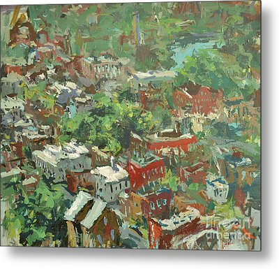 Modern Cityscape Painting Featuring Downtown Richmond Virginia Metal Print by Robert Joyner