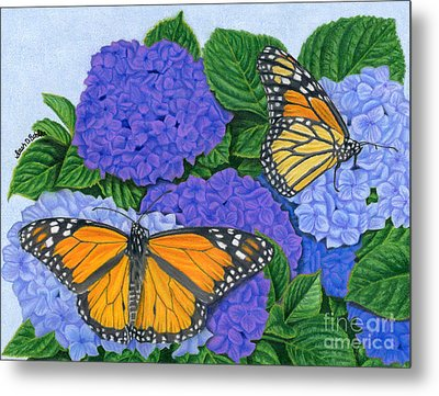 Monarch Butterflies And Hydrangeas Metal Print by Sarah Batalka