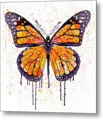 Monarch Butterfly Watercolor Metal Print by Marian Voicu