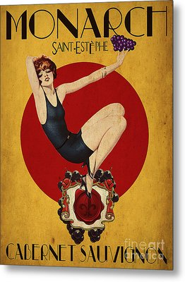 Monarch Wine A Vintage Style Ad Metal Print by Cinema Photography