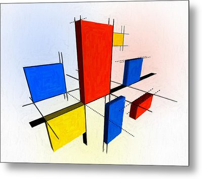Mondrian 3d Metal Print by Michael Tompsett