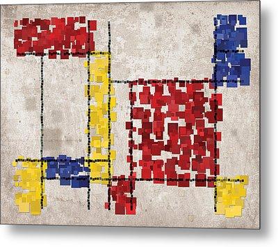 Mondrian Inspired Squares Metal Print by Michael Tompsett