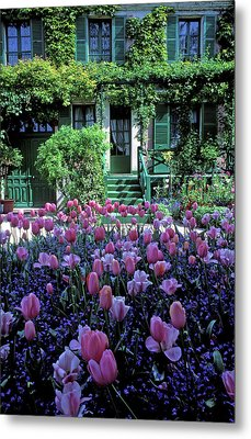 Monet's House With Tulips Metal Print by Kathy Yates