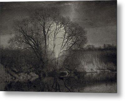 Monochrome Artistic Creek Tree Metal Print by Leif Sohlman