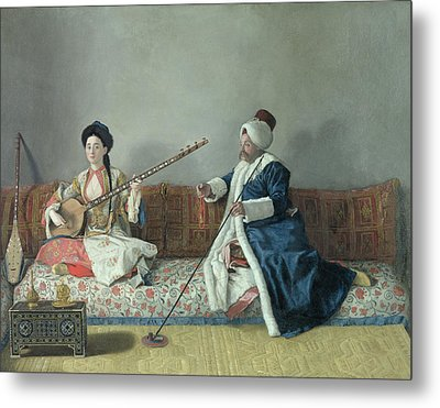 Monsieur Levett And Mademoiselle Helene Glavany In Turkish Costumes Metal Print by Jean Etienne Liotard