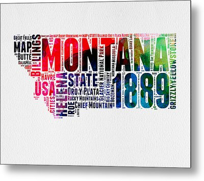 Montana Watercolor Word Cloud  Metal Print by Naxart Studio