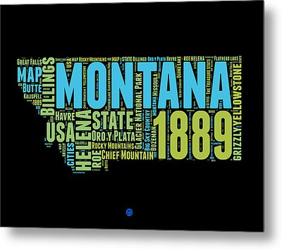 Montana Word Cloud 1 Metal Print by Naxart Studio