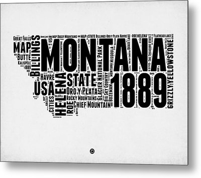 Montana Word Cloud 2 Metal Print by Naxart Studio