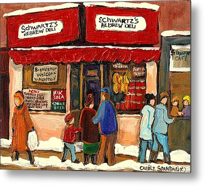 Montreal Hebrew Delicatessen Schwartzs By Montreal Streetscene Artist Carole Spandau Metal Print by Carole Spandau