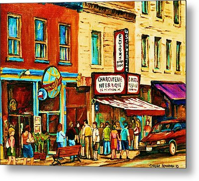 Montreal Streetscene Artist Carole Spandau Paints Schwartzs Main Street Hustle Bustle Metal Print by Carole Spandau