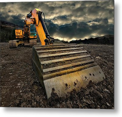 Moody Excavator Metal Print by Meirion Matthias