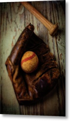 Moody Old Mitt With Bat Metal Print by Garry Gay