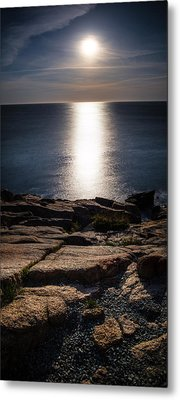 Moon Over Acadia Shores Metal Print by Brent L Ander